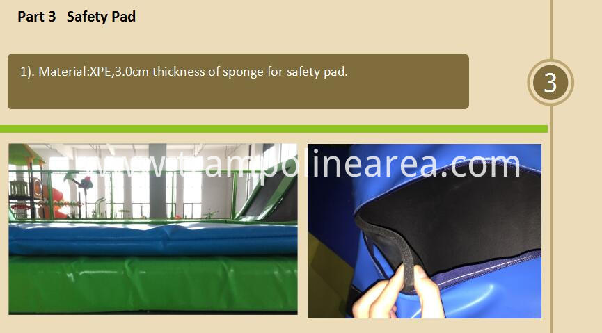 Safety pad of commercial trampoline park