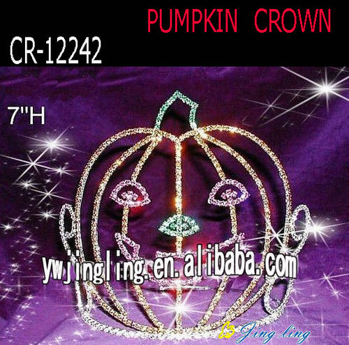 "7"" Rhinestone Big Pumpkin Pageant Tiara"