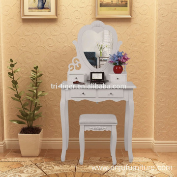 New design hot sale cheap wood dressing table with stool morden dresser