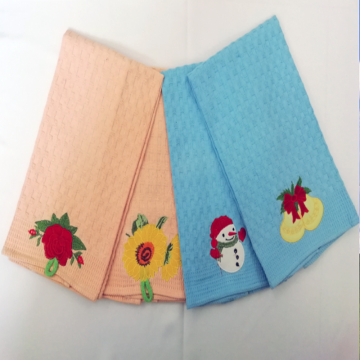 Best Quality for Cotton Embroidered Tea Towels Waffle check kitchen towels with embroidery supply to Russian Federation Exporter