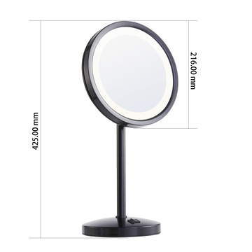Matte black magnifying vanity mirror with light