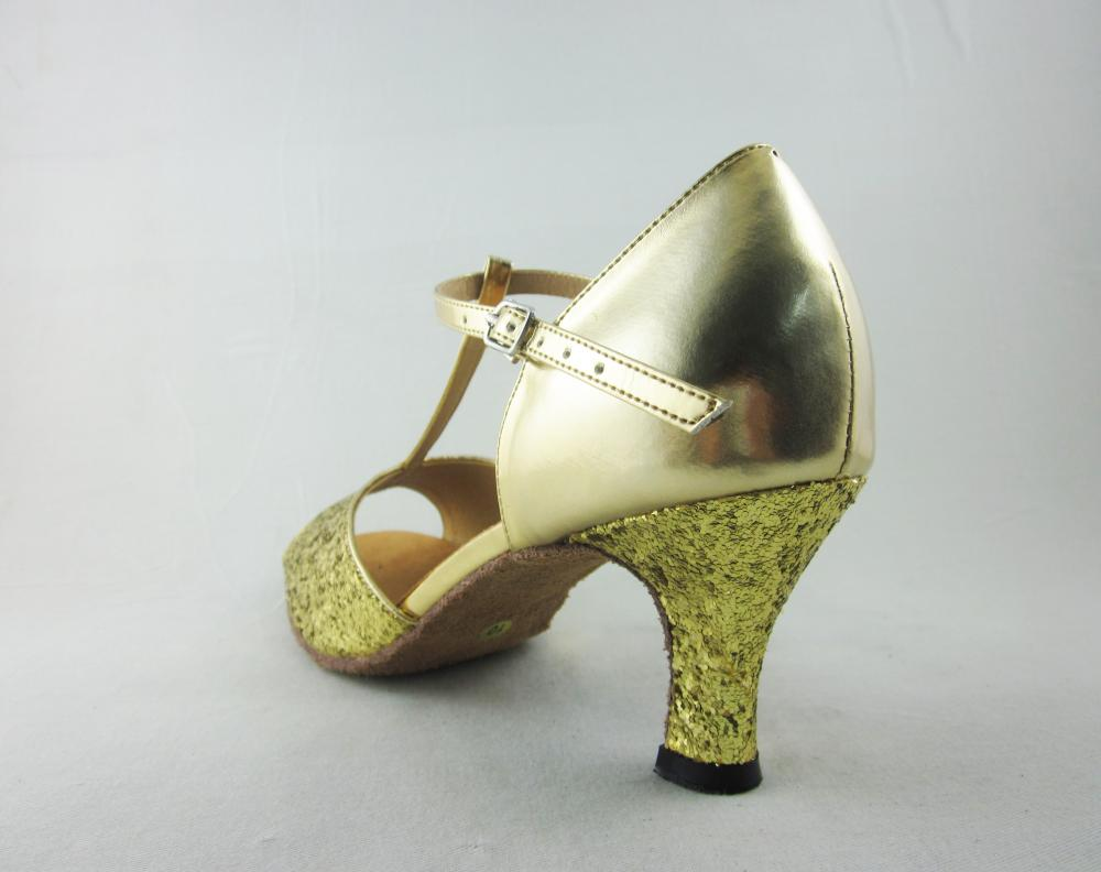 Gold Pu Latin Dance Shoes