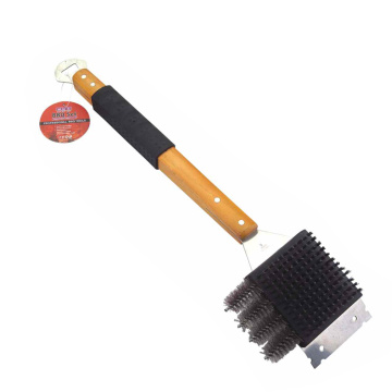 3in1 bbq grill cleaning brush with scrape