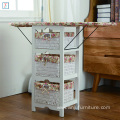 Folding Ironing Board Wooden Storage Cabinet with 3 Paper Storage Drawers