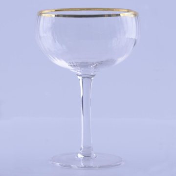 Gold Rim Ribbed Glasses Set