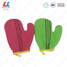 Handle loofah bathing pad gloves