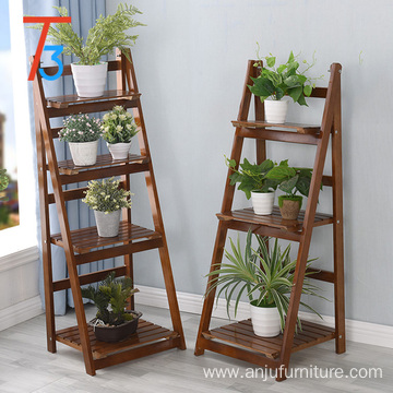 solid wood foldable storage flower display rack 42*34.8*112.6cm