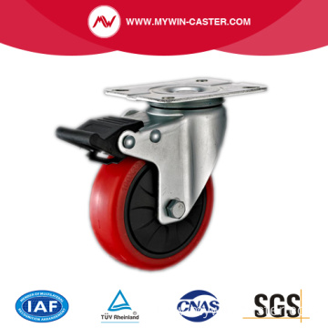 Braked PU Plate Swivel Industrial Caster