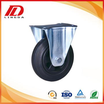 5 inch industrial casters fixed rubber wheels