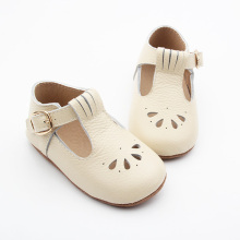 Soft leather christening baby girl party shoes