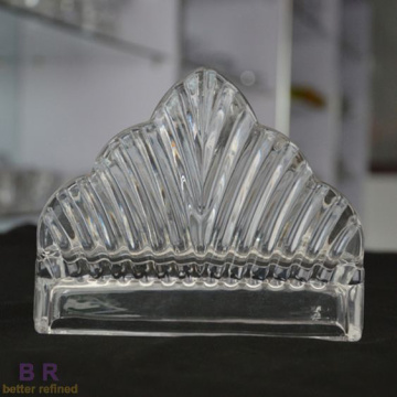 Hand Made Ribbed Crystal Napkin Holder