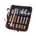 8pcs rubber wood handle bbq set