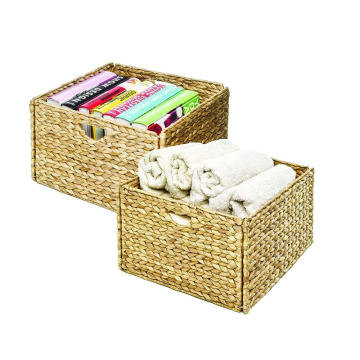 China for Storage Ottoman Hand-Woven Water Hyacinth Storage Baskets Hand-Woven Water Hyacinth Storage Baskets, 2-Pack supply to South Korea Wholesale