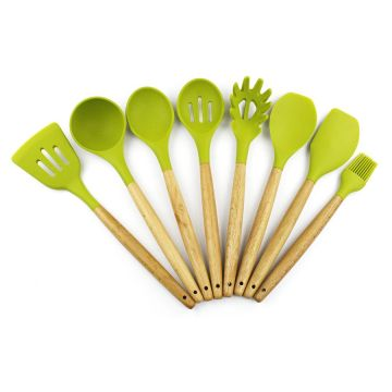 8PCS Nonstick Beech Wood Silicone Utensil Set