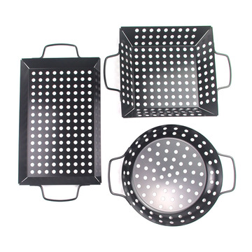 3pcs mini non-stick coated carbon steel bbq basket