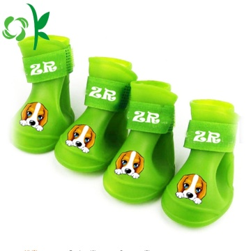 Pet Shoes Printed Anti-Skid Waterproof Silicone Dog Boots