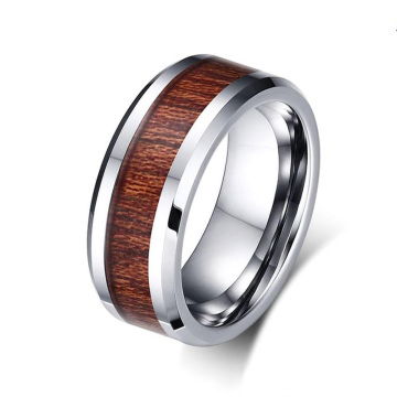 8mm mens tungsten ring with wood inlay