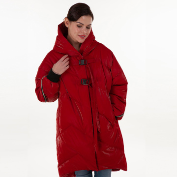Fashionable red down jacket