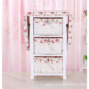 Foldable wood ironing boards with storage cabinet