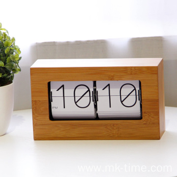 Box Shape Bamboo Material Retro Flip Clock