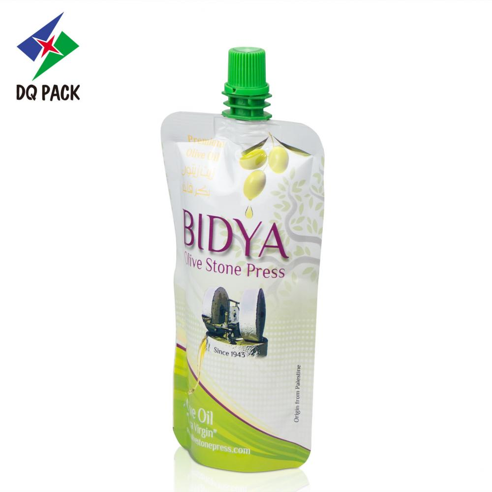 Olive oil plastic packaging bag with spout