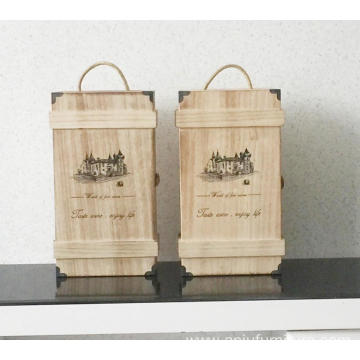Vintage Handmade Wood Wine Box Holder for 2 Bottles With Handle Wine Gift Box