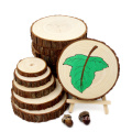 Unfinished DIY Crafts Printing Smooth Natural pine Wood Slices Tags with Tree Bark