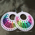 Romantic Multicolor Thread Wrap Earring Heart Wooden Earring