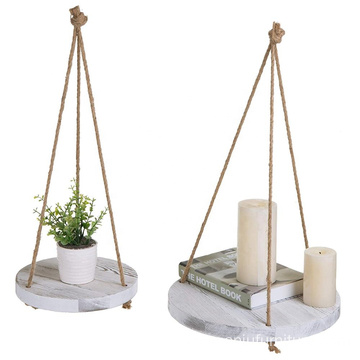 Set of 2 Round Whitewashed Wood Hanging Plant Shelves