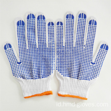 Kapas Rajutan Double PVC Dotted Safety Working Gloves