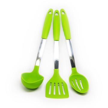 Premium stainless steel handle silicone cooking utensil set