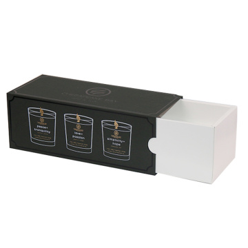 Custom Drawer Black Candle Set Boxes for Candle