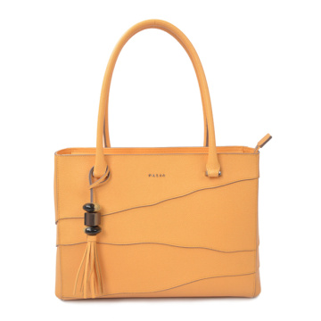 Yellow Leather Tote Bag Shopper Women's Bag