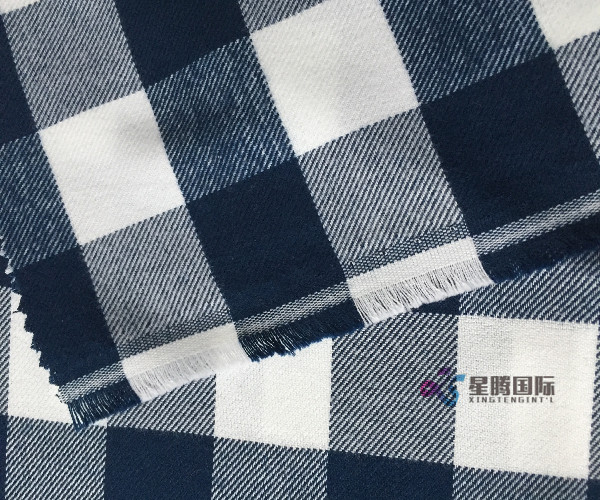 Check Woven Twill Shirting Fabric