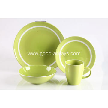 16 Piece Stoneware Dinner Set Green Color With White Rim