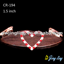 Small Red Rhinestone Heart Tiaras