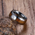 Unique zircon wood tungsten carbide mens wedding bands