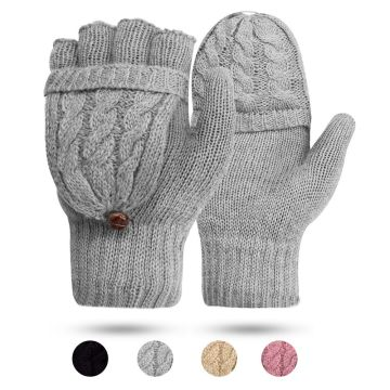 Digitek Women's Gloves Fingerless Cable Knit Mittens