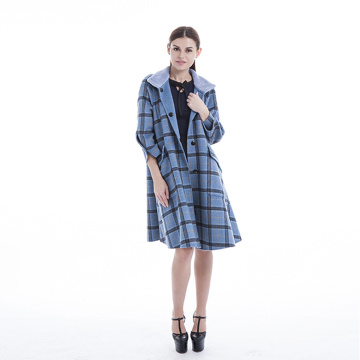 Stylish plaid blue cashmere coat