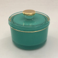 Empty Gold Rim Candle Glass Jar With Lid
