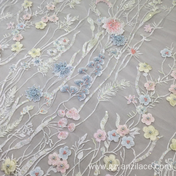 Bridal Lace Fabric Handwork Beaded Embroidery Fabric
