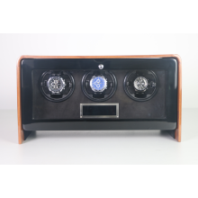 fashional watch winder for 3 mechanical watches 7 colors led light quiet motor high gloss PE finish watch winder