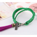 Handmade Leather Wrap Bracelets Retro Alloy Tassel Bracelet