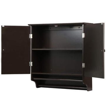 Double Door Wall Storage Cabinet Bathroom Furniture Black