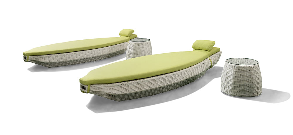 Outdoor Garden Wicker Sun Lounger