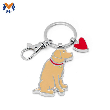 Metal dog shaped enamel keychain with charms