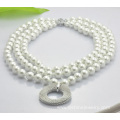 Double Layers Imitation Pearl Shamballa Beads Necklace