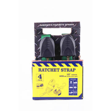 25mm Packaged Ratchet Buckle Lashing Strap with 4Pcs
