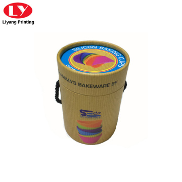 Round packaging paper box with string handle