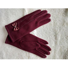 colorized handmade touch screen ladies mittens with bow